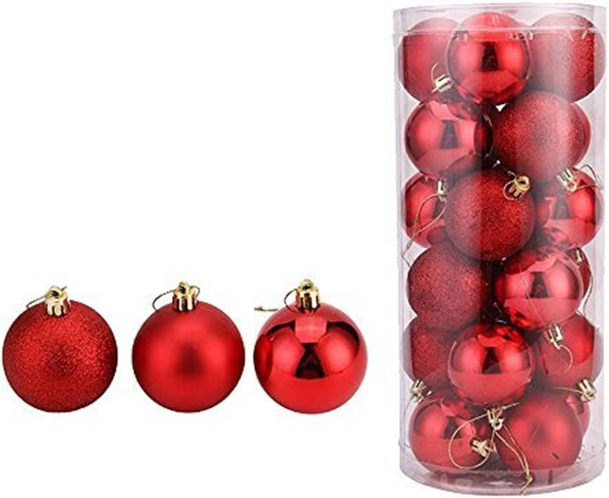 oamore Arte de Belleza Adornos de árbol de Navidad Bolas de Navidad Bola plástica de la decoración del árbol de Navidad de 24PC (Red, 4cm/1.57inch)