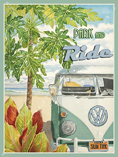 Park and Ride Metal Sign: Surfing and Tropical Decor Wall Accent