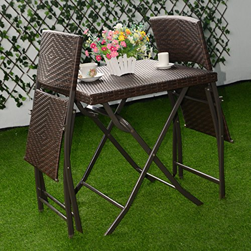 Garden Table And Chair Set For Two: Patio Bistro Outdoor Folding Table And 2 Chairs Furniture