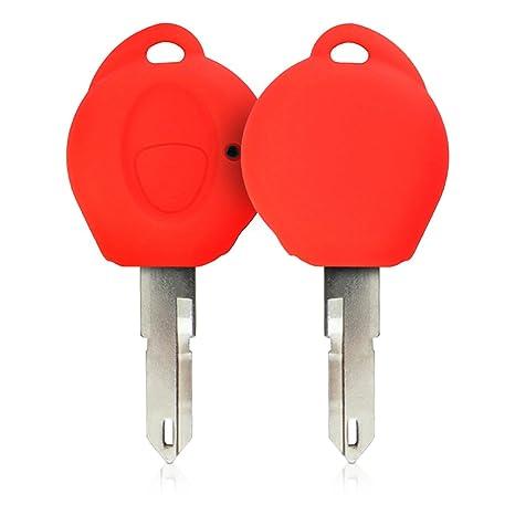 kwmobile Funda de Silicona para Llave de 1 botón para Coche Peugeot - Carcasa Protectora [Suave] de [Silicona] - Case Mando de Auto [Rojo]