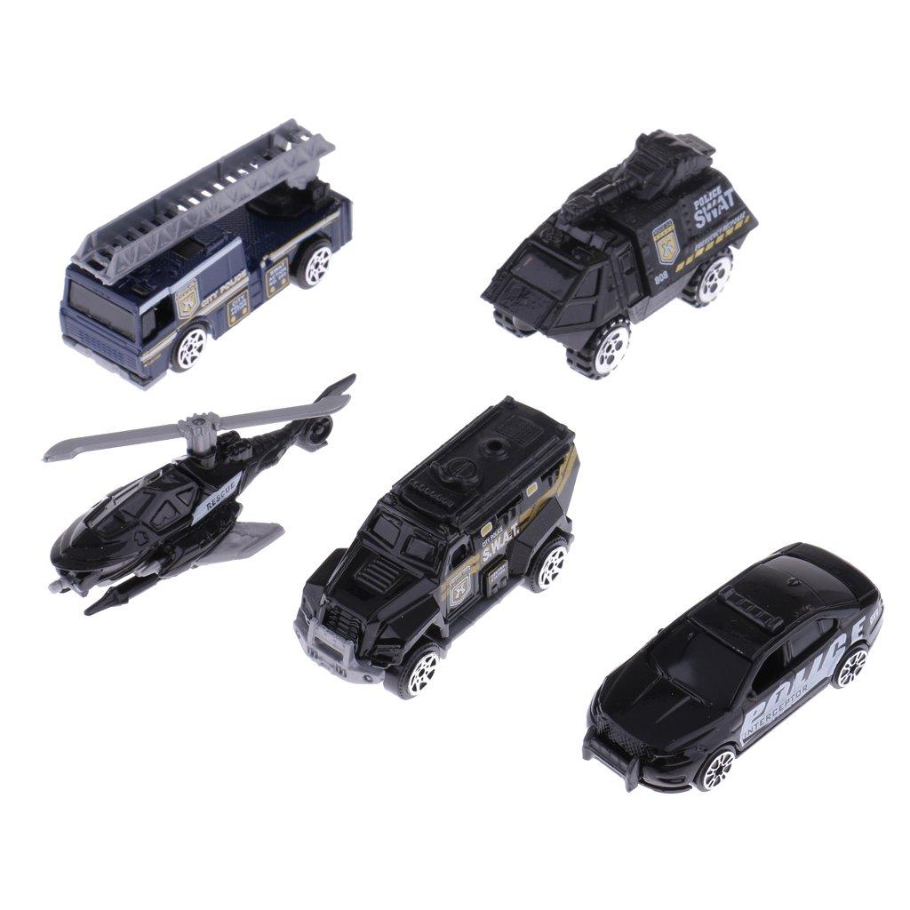 Amazon.com: MonkeyJack 5 Pieces 1:64 Diecast Model Car Truck Vehicle Model Set Kids Boys Collectibles Toys - City Police Set: Toys & Games