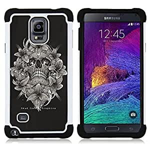 BullDog Case - FOR/Samsung Galaxy Note 4 SM-N910 N910 / - / SKULL BLACK WHITE FLORAL WREATH DEATH /- H??brido Heavy Duty caja del tel??fono protector din??mico - silicona suave