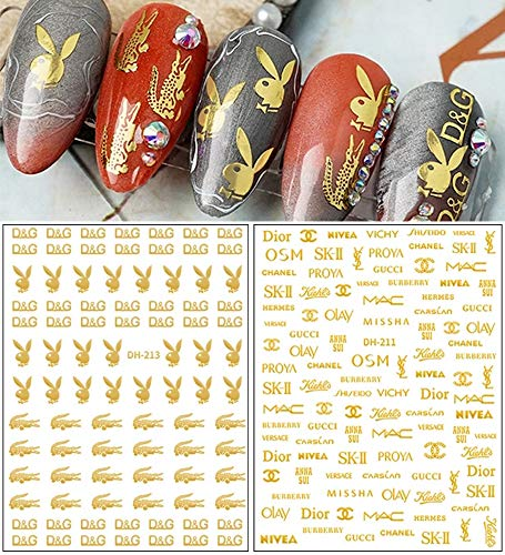 Designer Nail Stickers 3-d Nail Art Decoration Gold Luxury Nail Decals Bunny Designs Nail Art Stickers Self-Adhesive Fashion English Letters Nail Sticker for Women Kids Girls (2 Sheets)