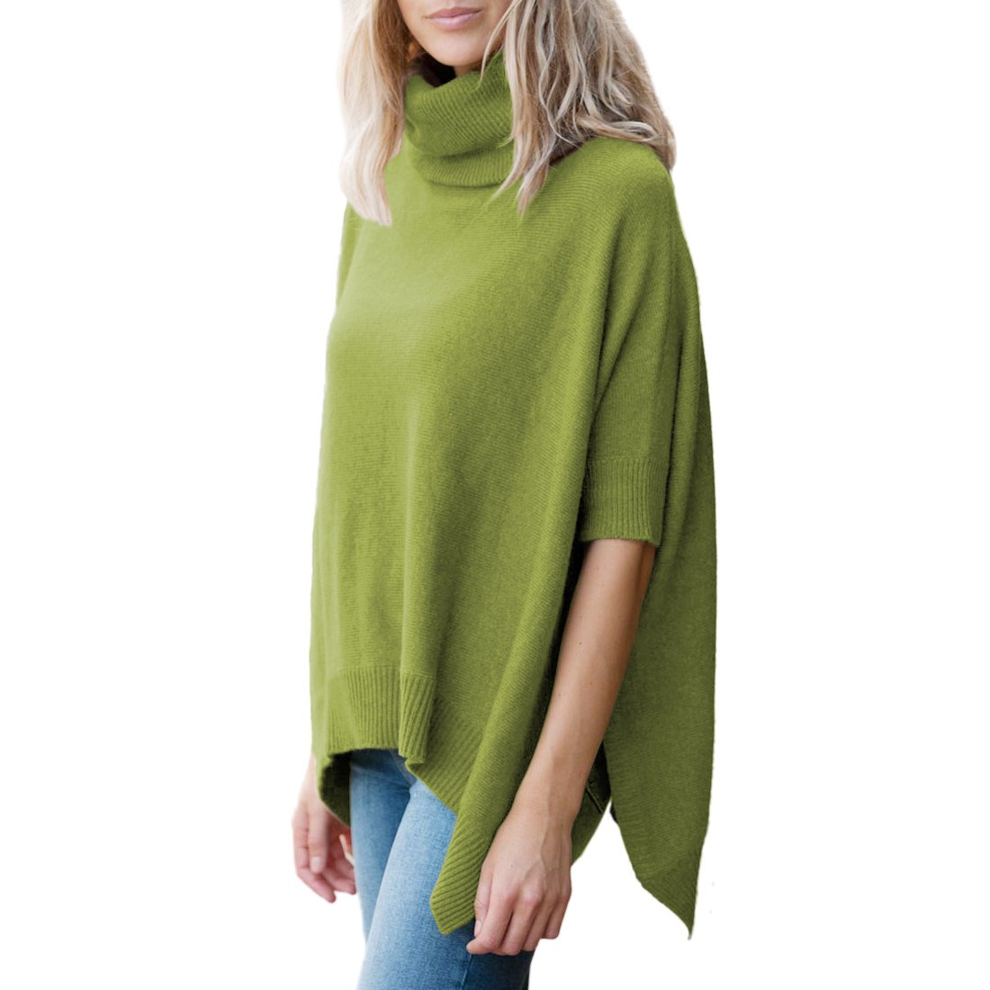 Parisbonbon Women's 100% Cashmere Pullover style Poncho Color Grass Green Size 0X
