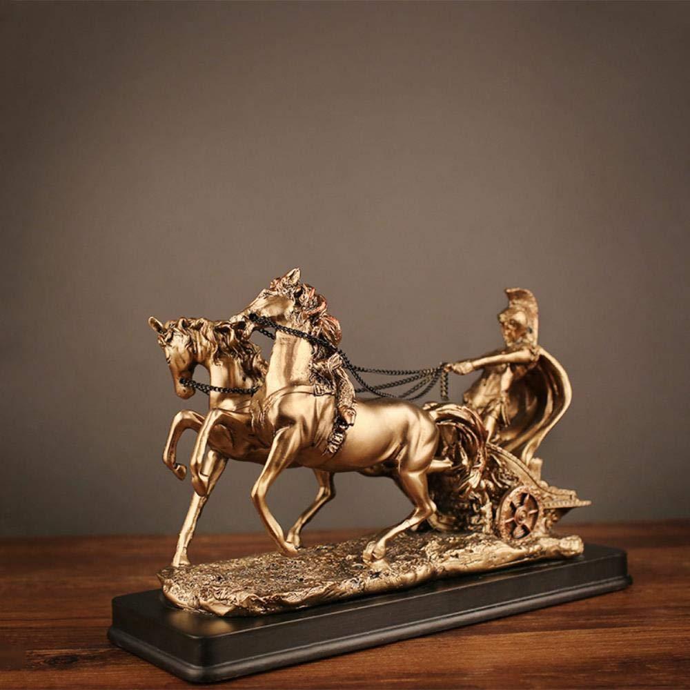 THREE Creative Home Office Desktop D/écoration Vintage Roman Chariot Figurines Ornements R/ésine Artisanat Accessoires Maison Cadeaux Or