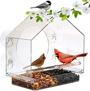 lembrd Window Bird Feeder, Bird House Clear Wall Mounted, Transparent bird seed feeders hanging with Suction Cup, squirrel proof bird feeders hanging for hummingbird, Finch, Dove, Chickadee 201019cm