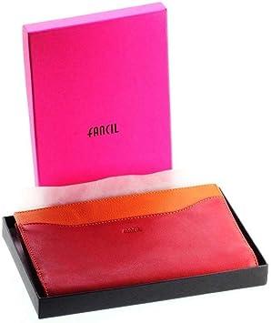 Fancil Porte-ch/équier vert et rose en cuir