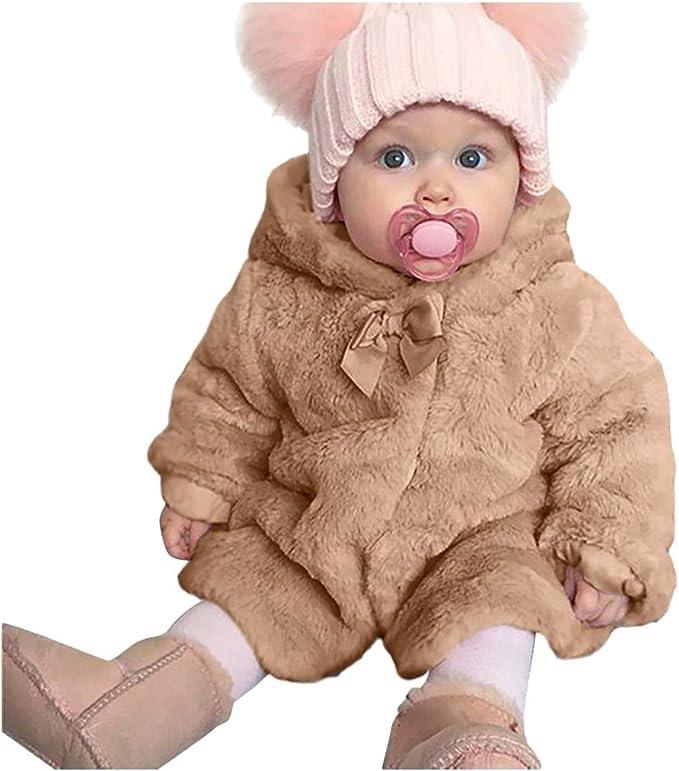 Toddler Kids Baby Boy Girl Hooded Coat Coral Fleece Warm Jacket Outwear Snowsuit