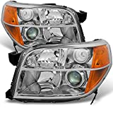 For Honda Pilot Clear Projector Headlights Head Lamps Driver Left + Passenger Right Side Replacement