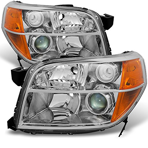 Honda Pilot Clear Projector Headlights Head Lamps Driver Left + Passenger Right Side Replacement (Honda Pilot Headlight Assembly)