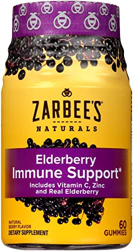 Zarbee s Naturals Elderberry Immune Support* with Vitamin C Zinc, Natural Berry Flavor, 60 Gummies