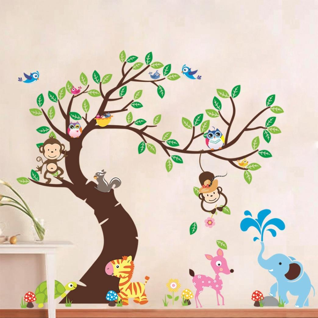 Kittoze Tree & Animals Wall Decals Wall Stickers, Peel and Stick Owl Monkey Elephent Removable Wall Stickers Murals for Kids Nursery Bedroom Living Room - 90x60cm