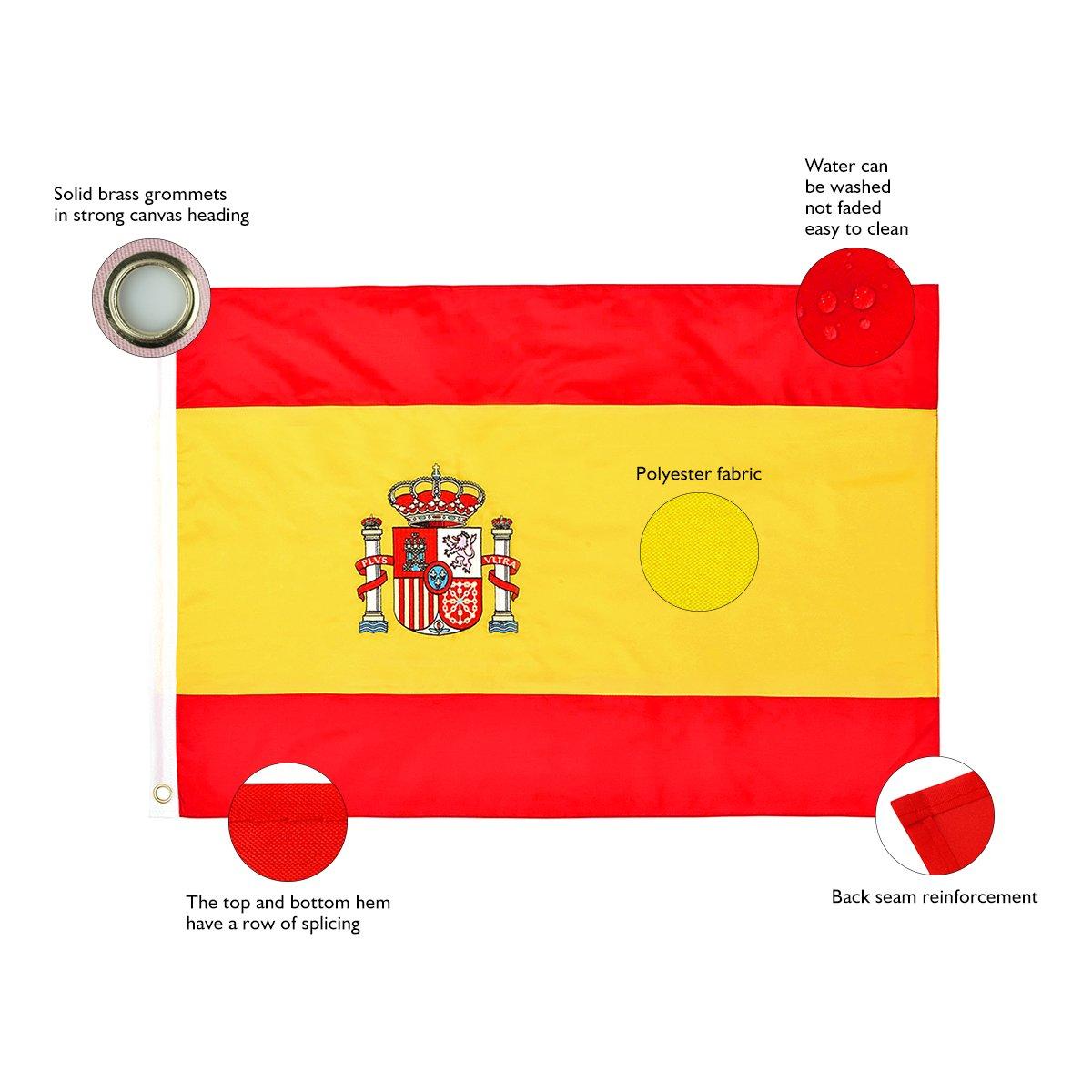45 X 30 Cm-Polyester Espagne-Drapeau National du Pays dext/érieur Couleur Banni/ère 1,5 X 1 Cm