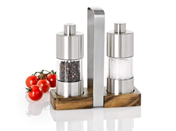 Pfefferstreuer Set mit Edelstahlbehälter zum Tragen ! Menage Glas Salzstreuer