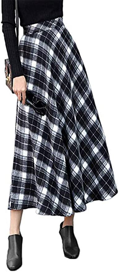 MAOYING Faldas De Lana A Cuadros De Las Mujeres Cintura Alta A ...