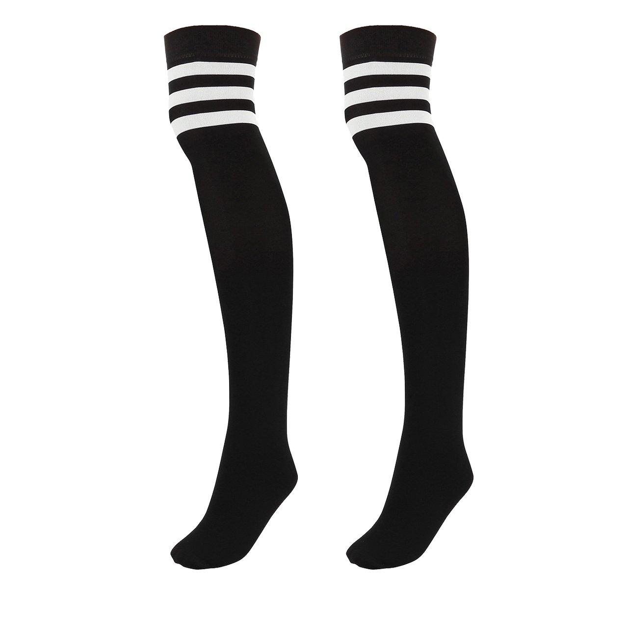 CHIC DIARY Damen Mädchen Kinder wärmer Strümpfe Overknee Kniestrümpfe gestreifte Sportsocken College Socks Baumwollstrümpfe, 63cm QQDE00641