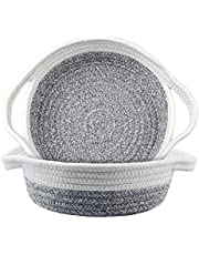 """2 Pack Cotton Rope Baskets, 12.5"""" x 9"""" x 3"""" Small Woven Storage Basket, Sturdy Basket Collapsible Organizer Basket for Fruits, Jewelry, Keys, Sewing Kits, Small Toys"""