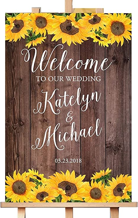 W1025 Sunflower Welcome Sign Printable Sign Digital File Sunflower Rehearsal Dinner Welcome Sign