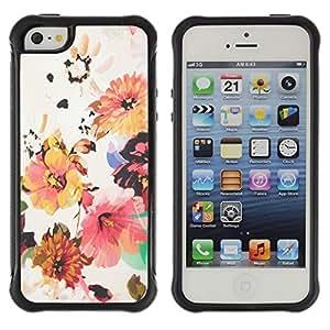Híbridos estuche rígido plástico de protección con soporte para el Apple iPhone 5 / 5S - flower wallpaper textile beige