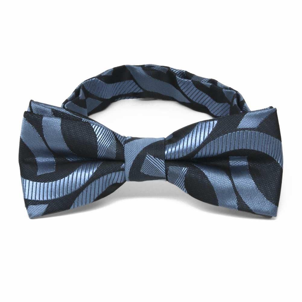 TieMart Boys Dark Blue Kay Link Pattern Bow Tie