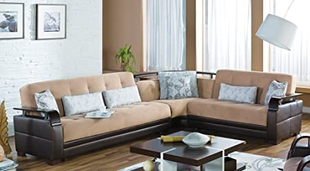 Amazon.com: Natural Sectional Sofa in Naomai Light Brown ...