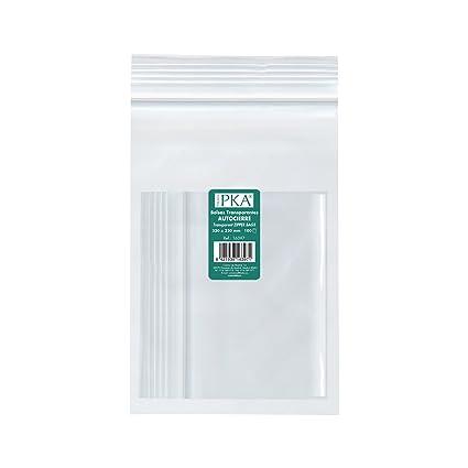 PKA 16395 - Pack de 100 bolsas de plástico con autocierre, 160x220 mm