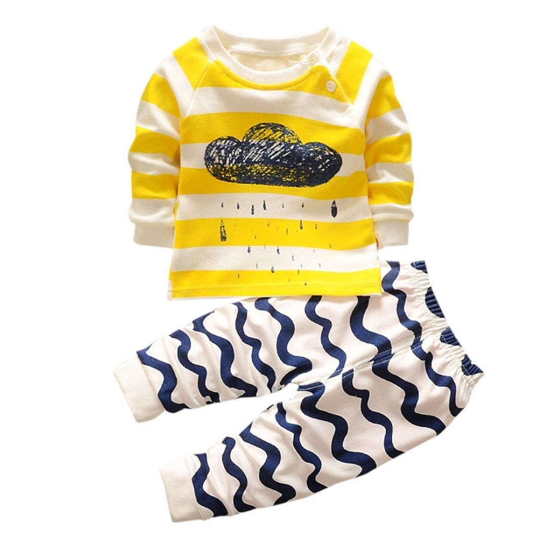 Jimmackey Neonato Unisex T-Shirt Pullover Stampa Nube Camicia Cime + Striscia Pantaloni Abiti Set