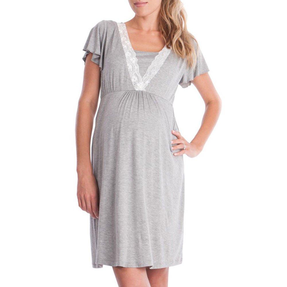 Zantec Vestido de lactancia de mamá de costura de encaje, Vestido de algodón suave de manga larga de ropa de casa de estilo flojo: Amazon.es: Ropa y ...