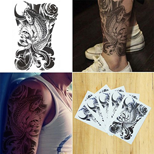 COKOHAPPY 5 Sheets Black Koi Fish Look Real Flash Temporary Tattoo Koi Tattoo