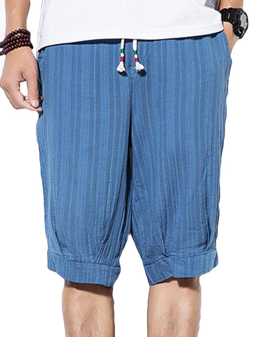 FRPE-Men Summer Solid Color Linen Cotton Loose Fit Harem Beach Shorts