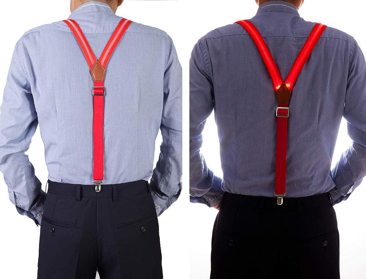 Fumeepro LED Glow Light Up Suspenders Mens Neon Suspenders Trouser Braces Y Shape Suspenders