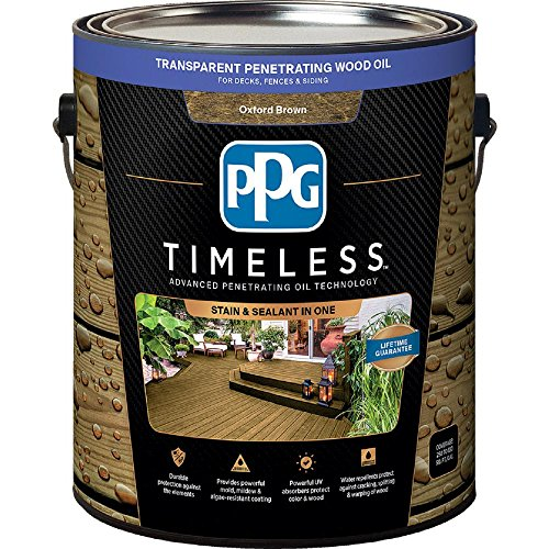 PPG TIMELESS 1 gal. TPO-14 Oxford Brown Transparent Penetrating Wood Oil Exterior Stain Low VOC