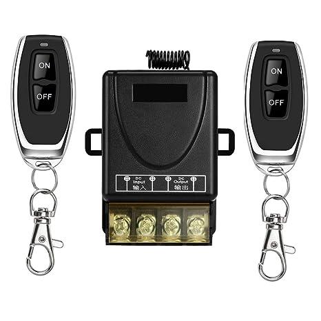 YETOR Interruptor de Control Remoto, Interruptor Remoto de Relé DC 12V / 24V / 48V / 72V / 40A para Alarmas Antirrobo, Puerta Lind de Rodillo de ...