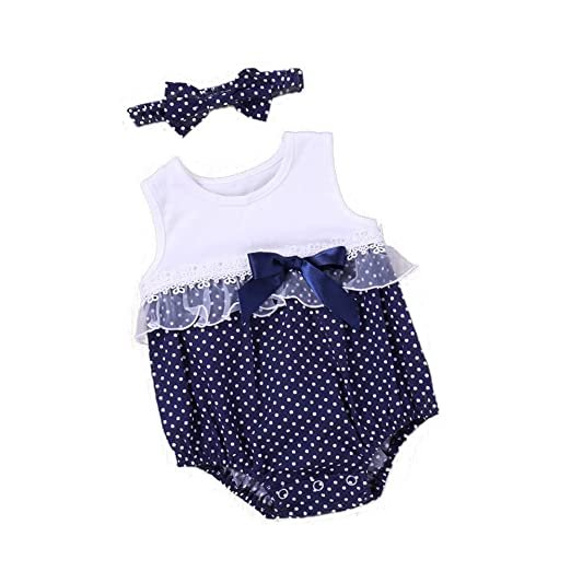 44790ceed1b7 MILWAY Baby Girls Dot Lace Rompers Bodysuit with Bowknot Headband Easter s  Outfits (White