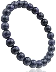 jennysun2010 Handmade Natural Gemstone Smooth Round Loose Beads 8mm Stretchy Bracelet Healing