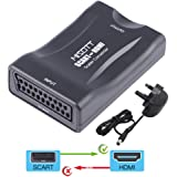 MISOTT Scart to HDMI scaler Converter, Supports 720P or 1080P HDMI Output for STB, DVD, Sky or other Devices with Scart Output Port to Play on HDTV, Monitor or Projector with HDMI Port