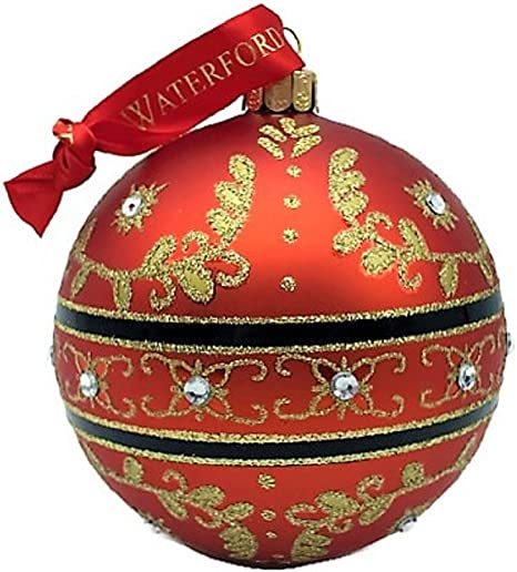 Waterford Holiday Heirlooms Christmas Majestic Scroll Ball 155136 Ornament Red With Gold Scroll Crysals Home Kitchen