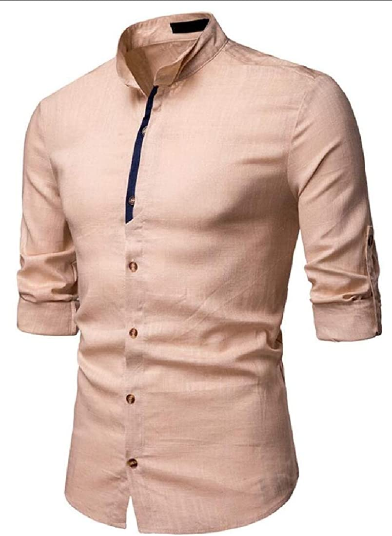 Gocgt Mens Cotton Linen Shirts Botton Up Summer Casual Long Sleeve Tops