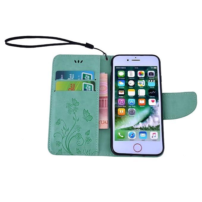 Amazon.com: eDealMax la Flor de Cuero de la cubierta del caso del tirón del patrón Monedero protectora Shell de la Turquesa por iPhone7: Electronics