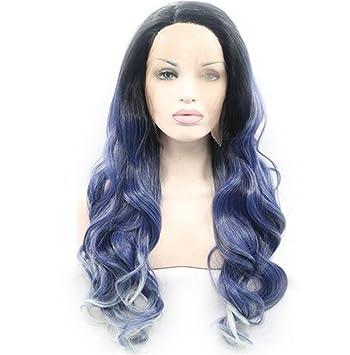 SHKY mezcla de cuerpo de Ombre azul de onda sintética pelucas frontales de encaje con raíces