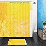 Vanfan Bathroom 2?Suits 1 Shower Curtains & ?1 Floor Mats abstract wallpaper texture background of close up fragment of oil painting on canvas with brush 290899673 From Bath room