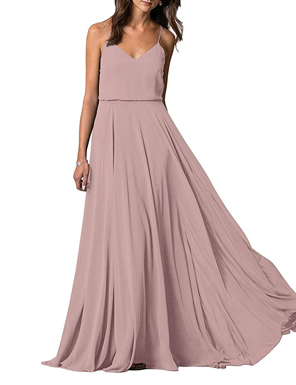 bluesh YUSHENGSM Spaghetti Straps VNeck Long Bridesmaid Dress Wedding Beach Prom Skirt