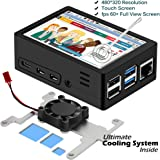 [2020 Latest] Raspberry Pi 4 Touchscreen, MazerPi 3.5 inch 60+fps 480x320 Resolution HD Raspberry Pi Touchscreen with Cooling Fan and Case for Raspberry 4 Model B/Pi 4b (Screen with Case)