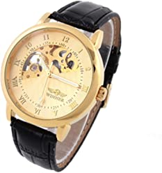 Winner Mens Mechanical Watches Skeleton Hand-Wind Up Leather Strap Watches Luxury Brand Wristwatches Discount
