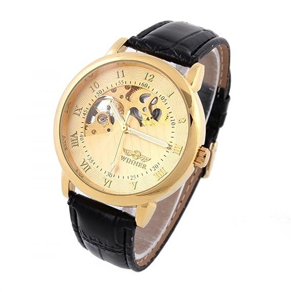 Beauty regalo 1 pieza mecánica de esqueleto para hombre relojes Winner Hand-Wind Up relojes marca correa de piel de reloj Discount lanzadera o cama de ...