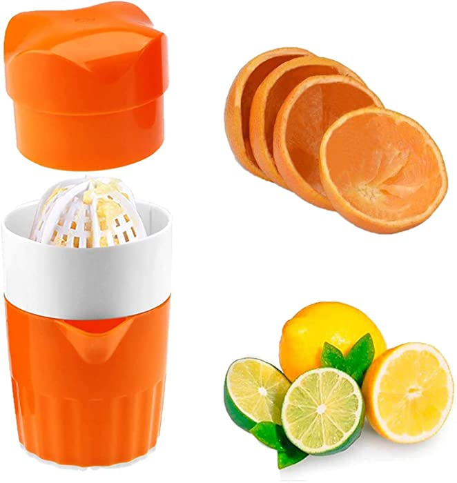 Gangang Hand Juicer Citrus Orange Squeezer Manual Lid Rotation Press Reamer for Lemon Lime Grapefruit with Strainer and Container