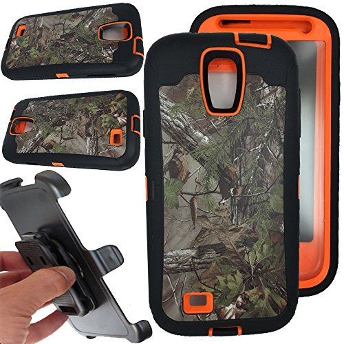 For Samsung galaxy S4 Case, Vodico Rugged Heavy Duty Shockproof Dirtproof Hybrid Full Body Protective Case with Belt Clip and Built-in Screen Protector for Samsung galaxy S4 - Forest Orange (Best Rugged Galaxy S4 Case)