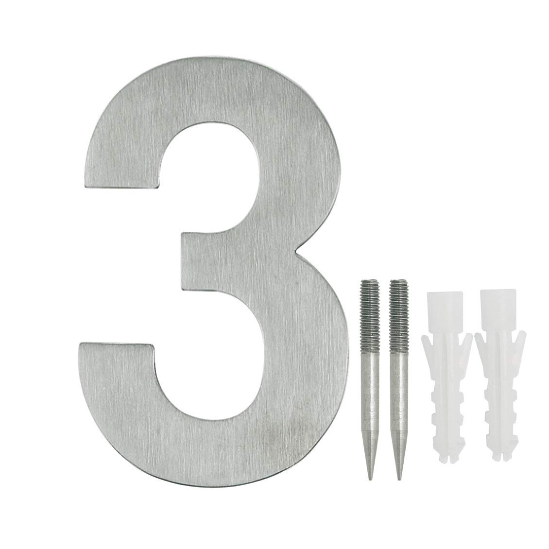 NUZAMAS Door Numbers Plaques 3, Stainless Steel Hotel House Address Plaque Digits Plate Signs Street Numbers, Wall Mounted, 10.8cm Width 15cm High, Installation Kit Included
