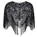 PrettyGuide Women's Flapper Shawl Bead Sequin Inspired 1920s Gatsby Evening Warps Colorful Black