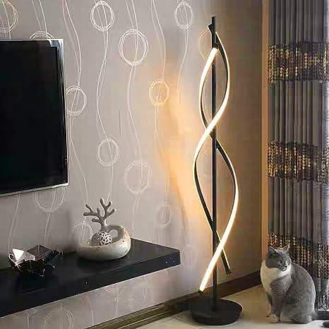 Negro Espiral Lámparas de Pie - ELINKUME Regulable LED Lámpara de Iluminación Interior 30W Regulable LED Ahorro de Energia Lámpara de la Sala Material ...